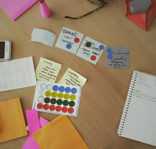 Design sprint materials on a table
