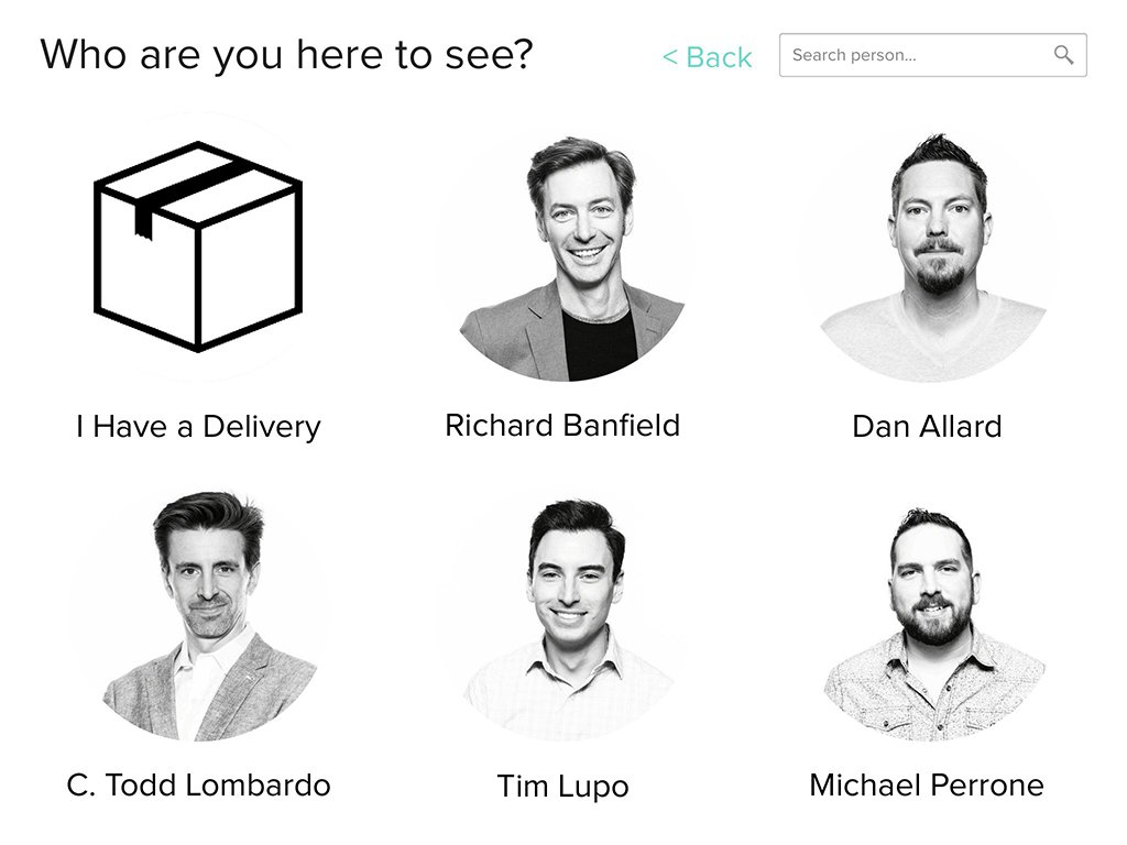 Enter Prototype Screen 2: Who are you here to see?.