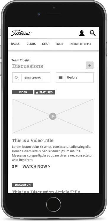 wireframe for the mobile Titleist site shown on an iPhone