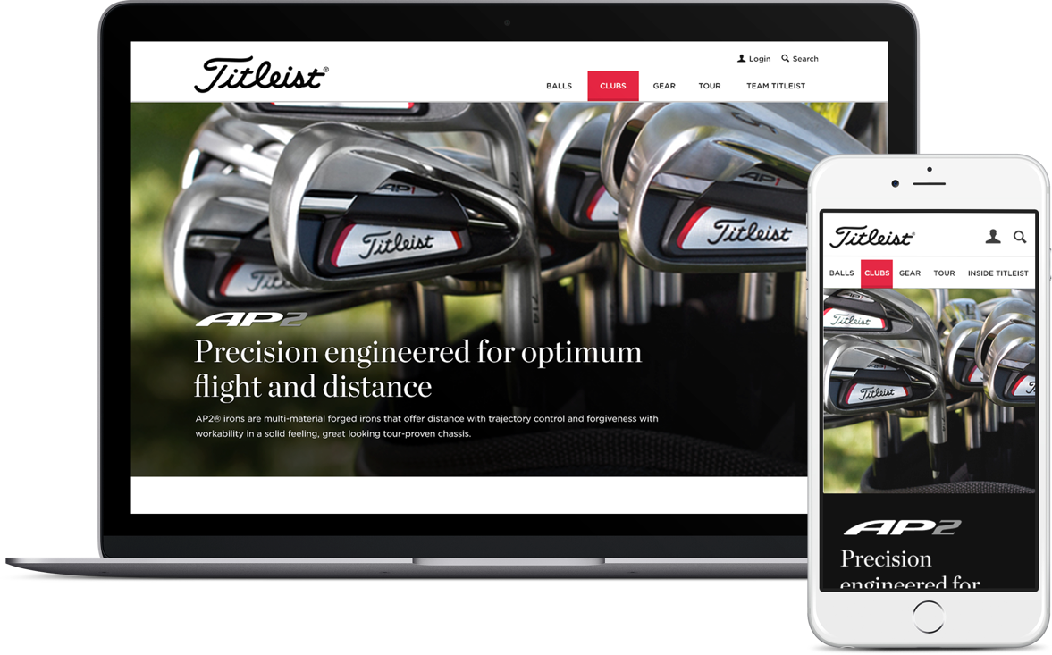 Titleist website on a laptop and an iphone