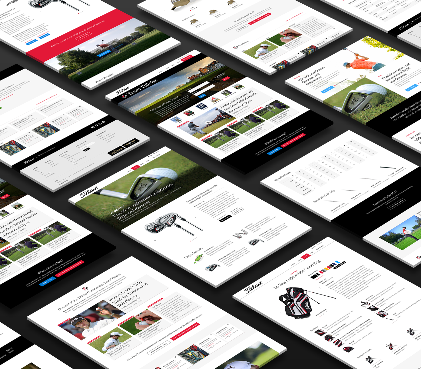 a grid of images of different screens in the titleist page