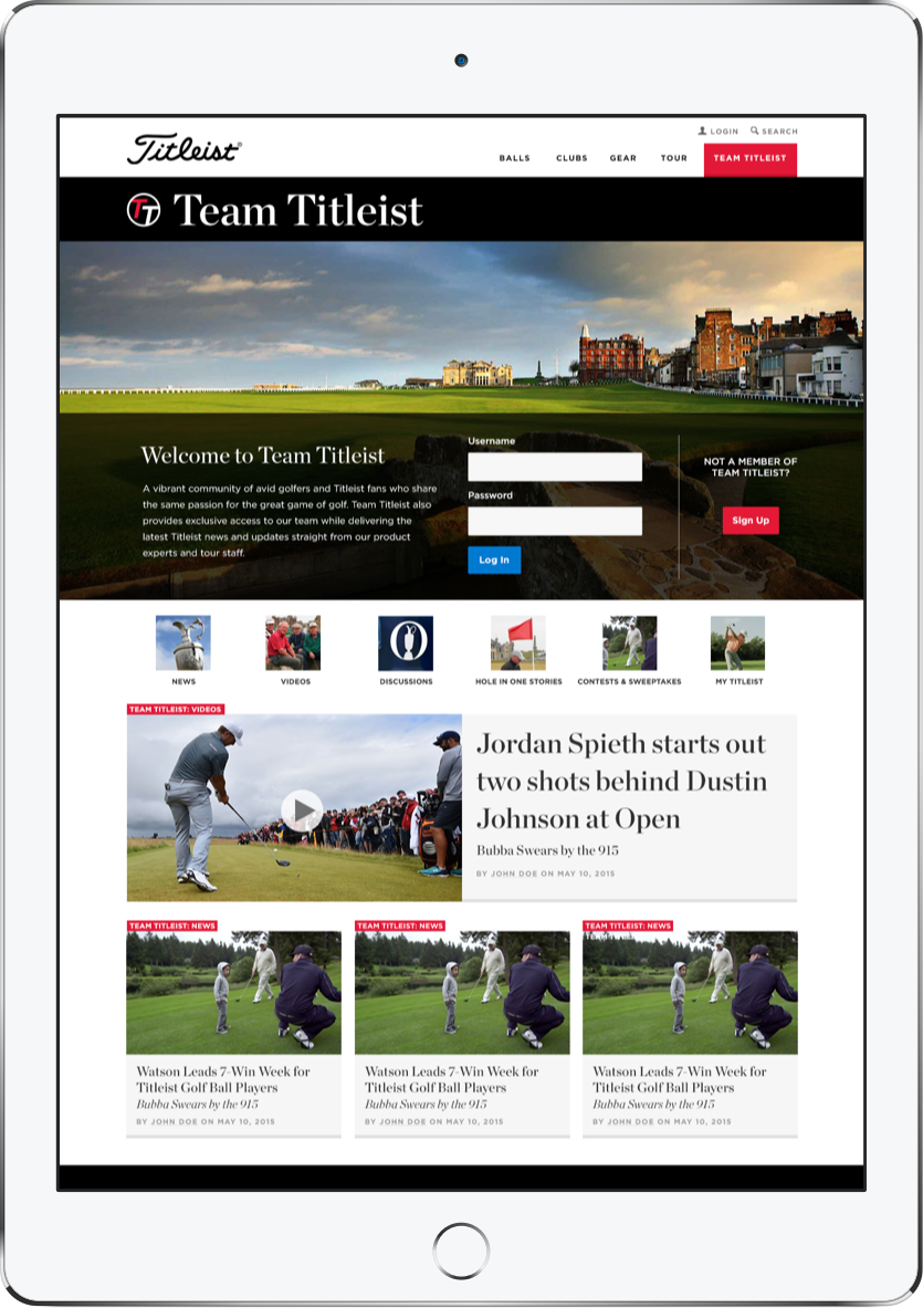 iPad view of team titleist, the social hub for titleist