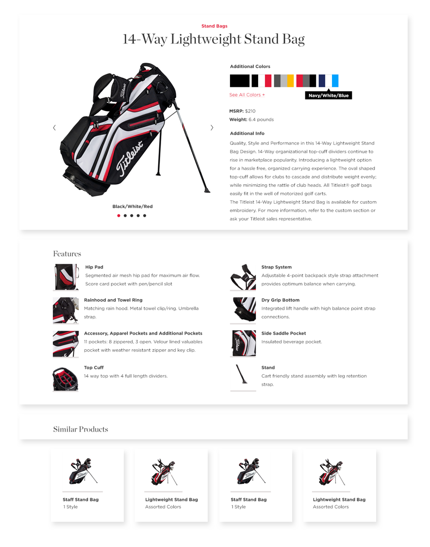 an image of a Titleist webpage featuring a golf bag and other golf accesories
