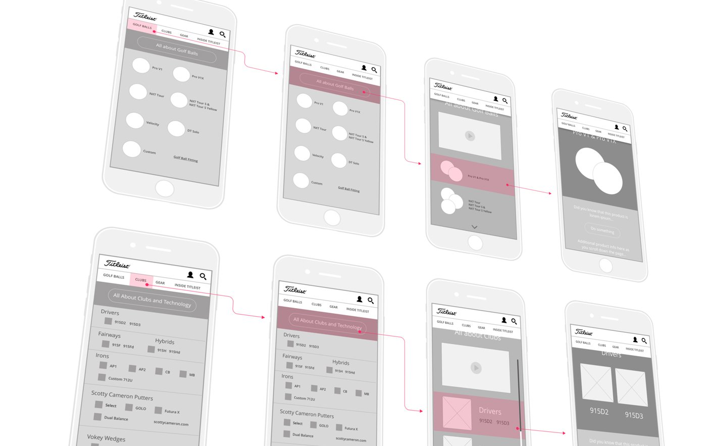 mobile wireframes for the Titleist website