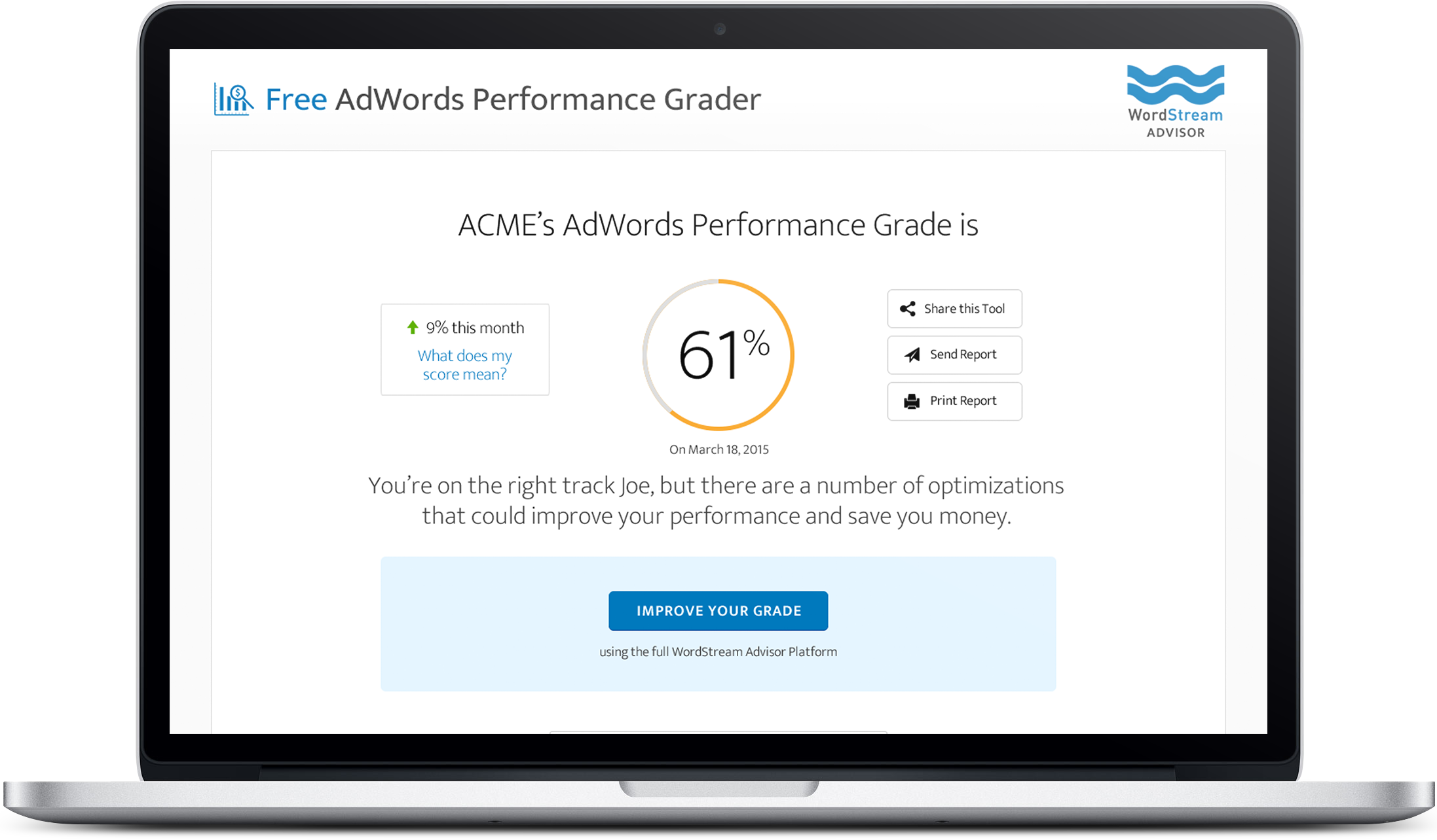 laptop view of wordstream's adwords performance grader