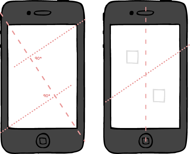 iphone sketches showing diagonal cuts