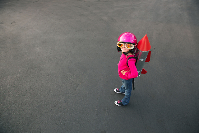 child with a rocket backpack
