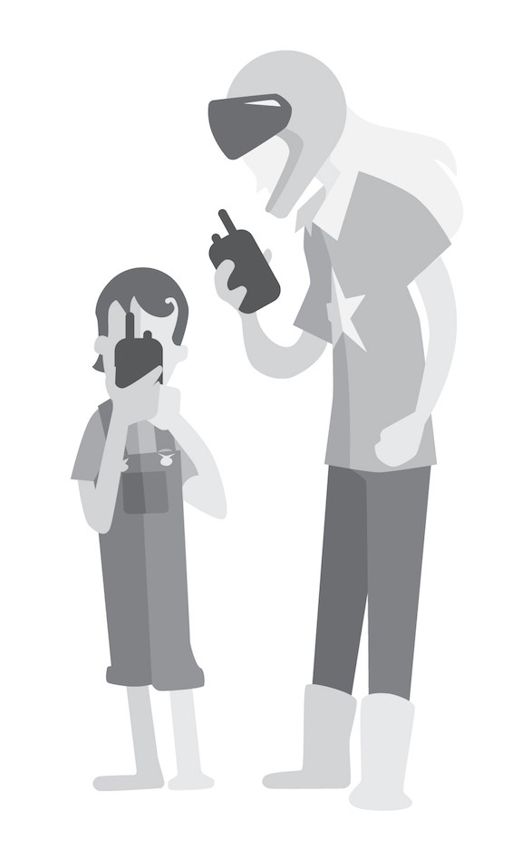 woman and kid with walkie talkie