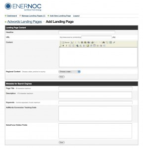 EnerNOC's Adwords Landing Page CMS Design