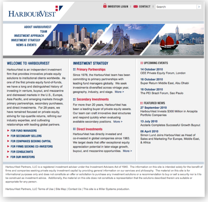 harbourvest homepage before image