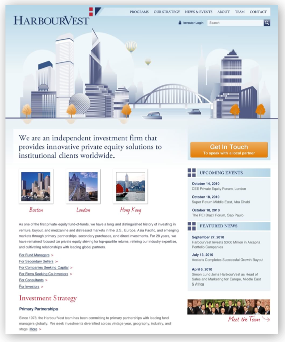 harbourvest homepage after image