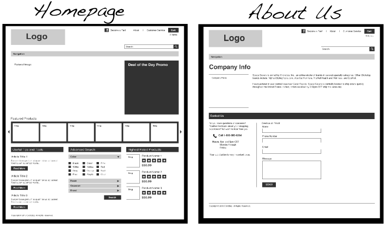 space savers wireframe mock-ups