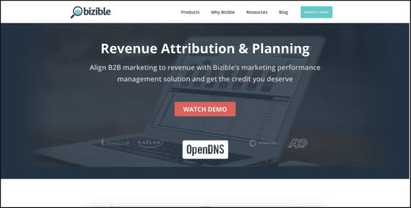 Bizible home page