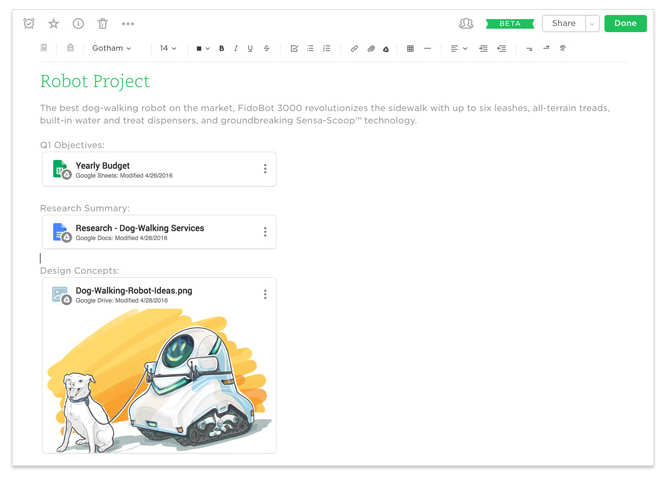 Evernote project screenshot