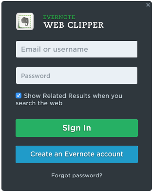 Evernote web clipper login screen