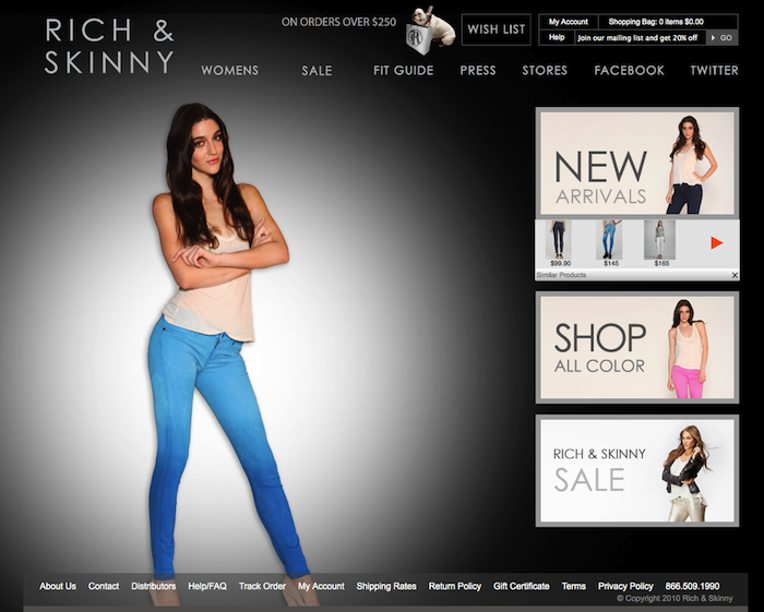 Rich & Skinny Jeans homepage