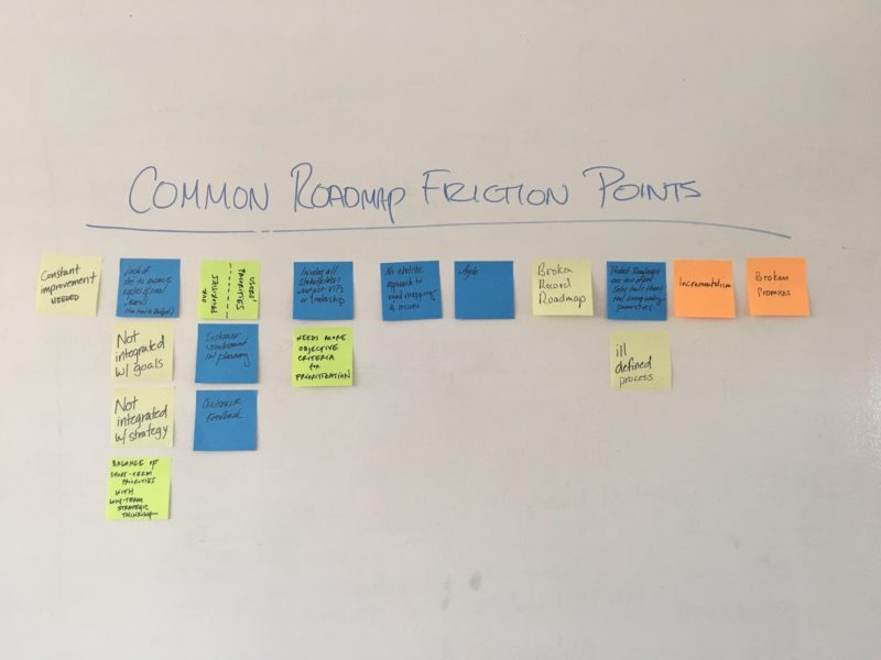 Common roadmap friction points post-its