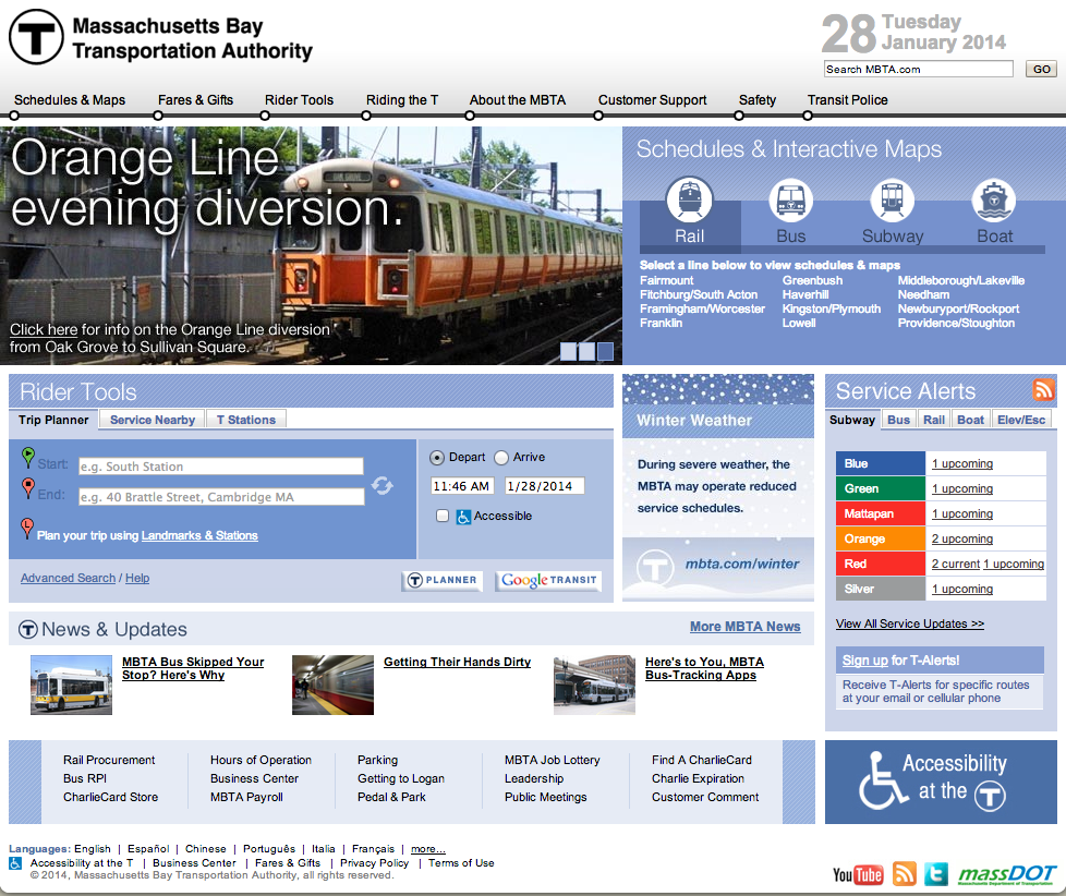 Screenshot of the MBTA site