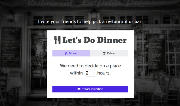 Let's do dinner home screen