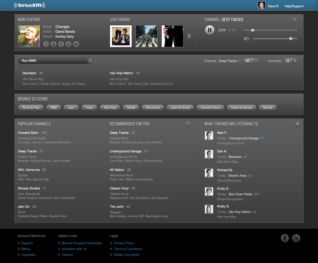 Sirius XM User Interface Re-imagined with Search Results