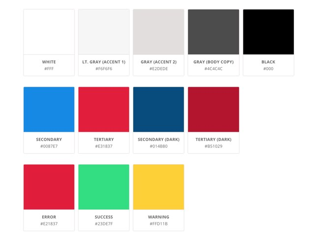 UI Kit example of standard colors and hex codes