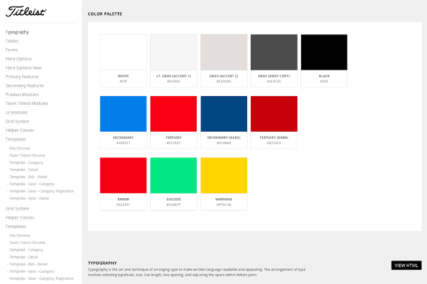 Titleist's style guide overview page. Click to see full sized-image.