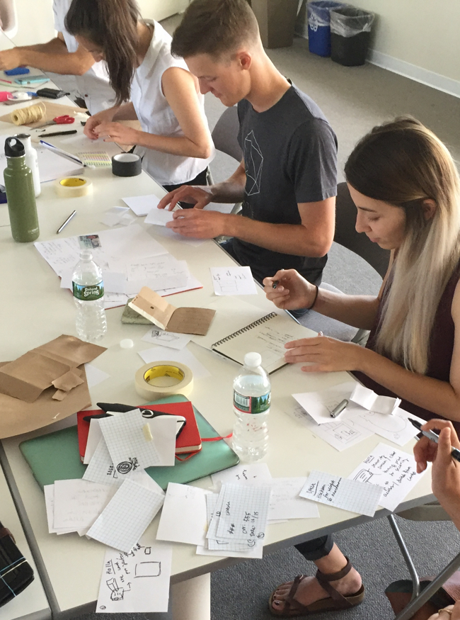 Apprentices working on paper prototypes
