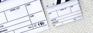 Film slate from a movie production
