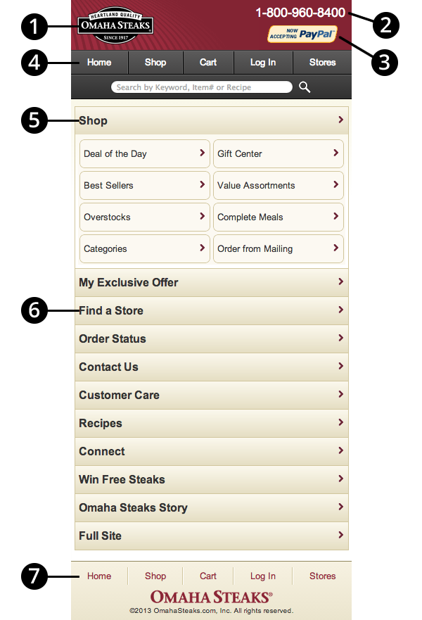 Screen shot of the Omaha Steaks mobile website with numbers matching the sections below