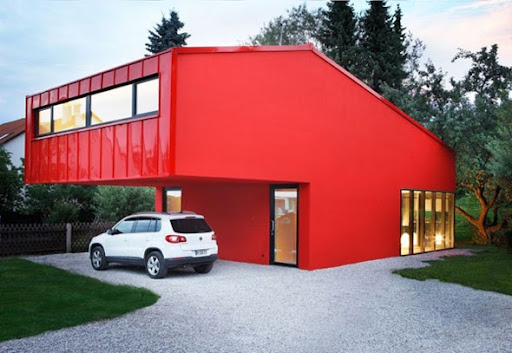 A home with an overhang to double as a garage