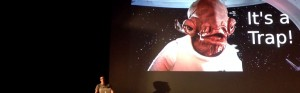 Steve Hickey talking about prototyping with Admiral Ackbar on the slide behind him