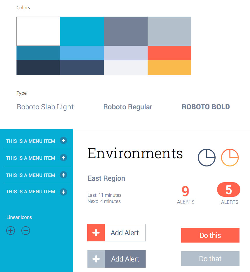 A Style tile representing colors, typography and some common ui elements, with a chosen design aesthetic applied to them