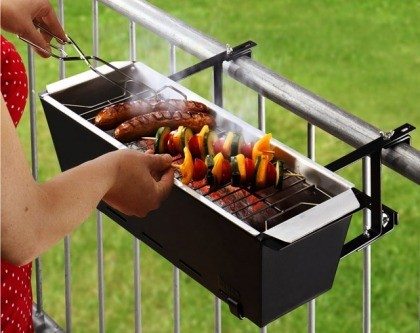 A grill attached to a railing