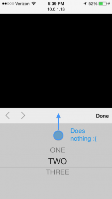 Tapping and dragging above the topmost row item does nothing.