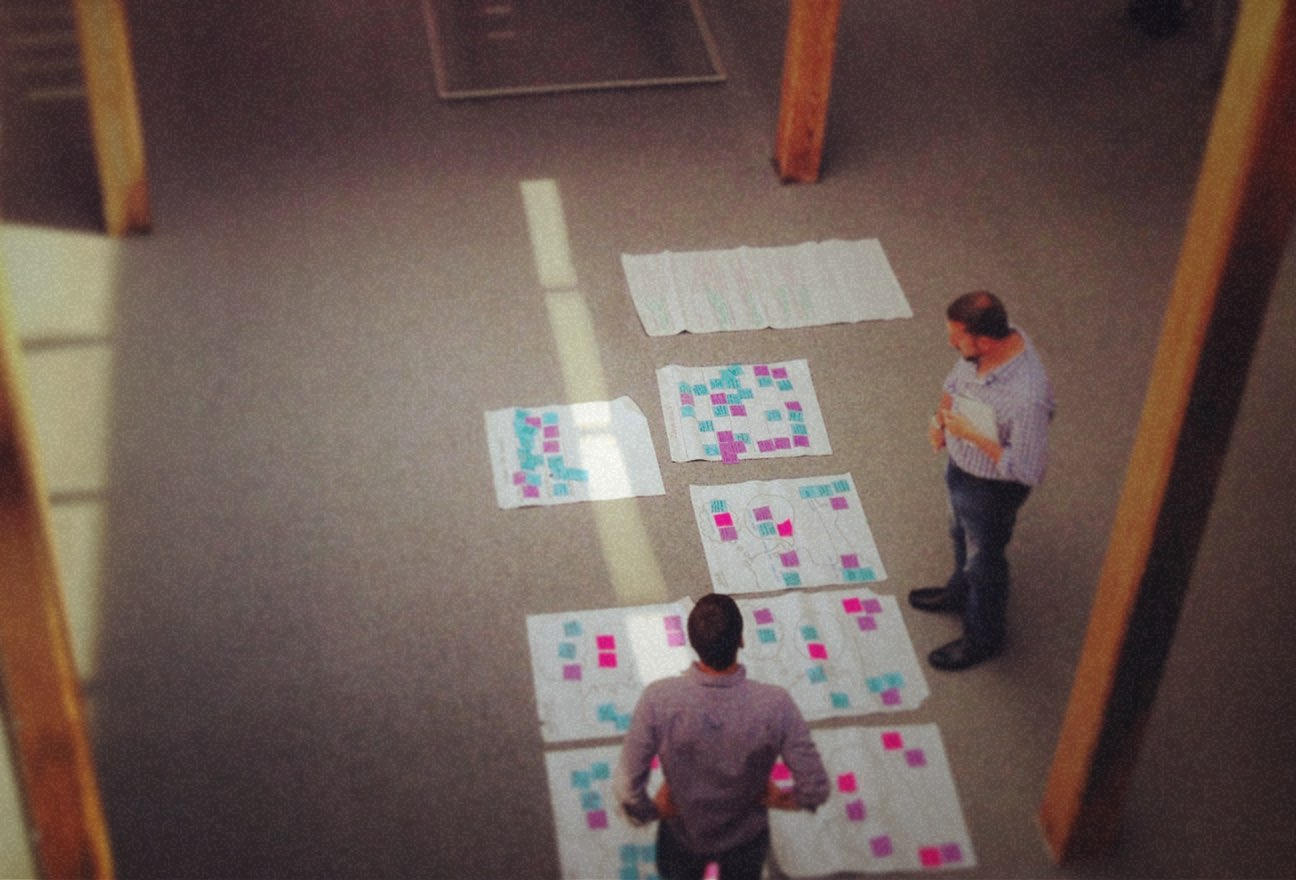 Designers reviewing design sprint post-its