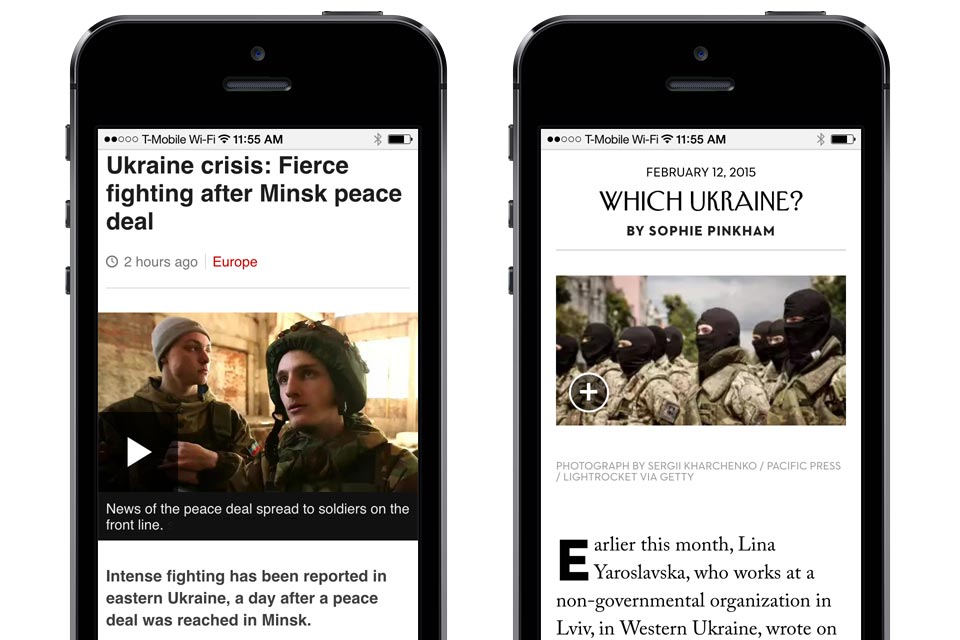 A comparison of the web fonts on the BBC News site on the left and The New Yorker site on the right, both presented as they appear on an iPhone, without their logo or name.
